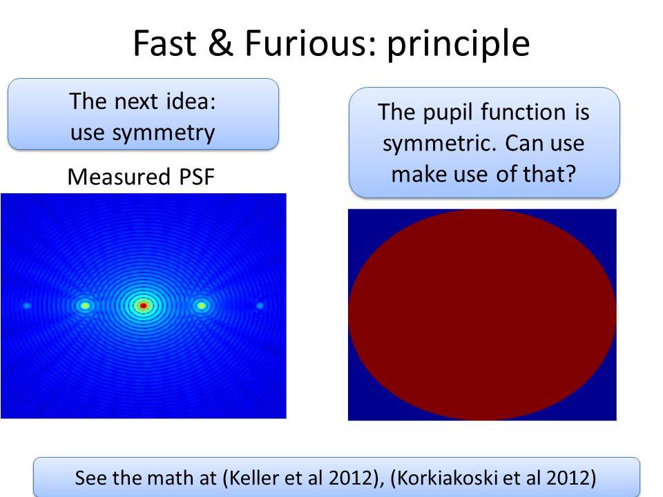 See the math at (Keller et al 2012), (Korkiakoski et al 2012) Fast & Furious: principle The next idea: use symmetry The next idea: use symmetry Measured PSF The pupil function is symmetric.