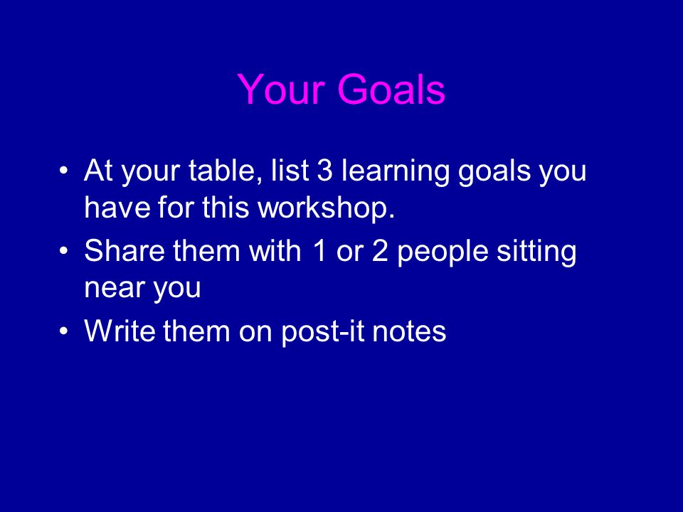 Your Goals At your table, list 3 learning goals you have for this workshop.
