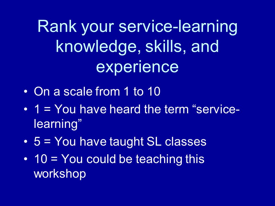 What distinguishes service- learning from other forms of experiential education.