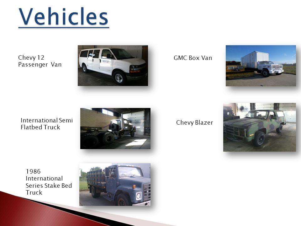 GMC Box Van Chevy Blazer International Semi Flatbed Truck Chevy 12 Passenger Van 1986 International Series Stake Bed Truck