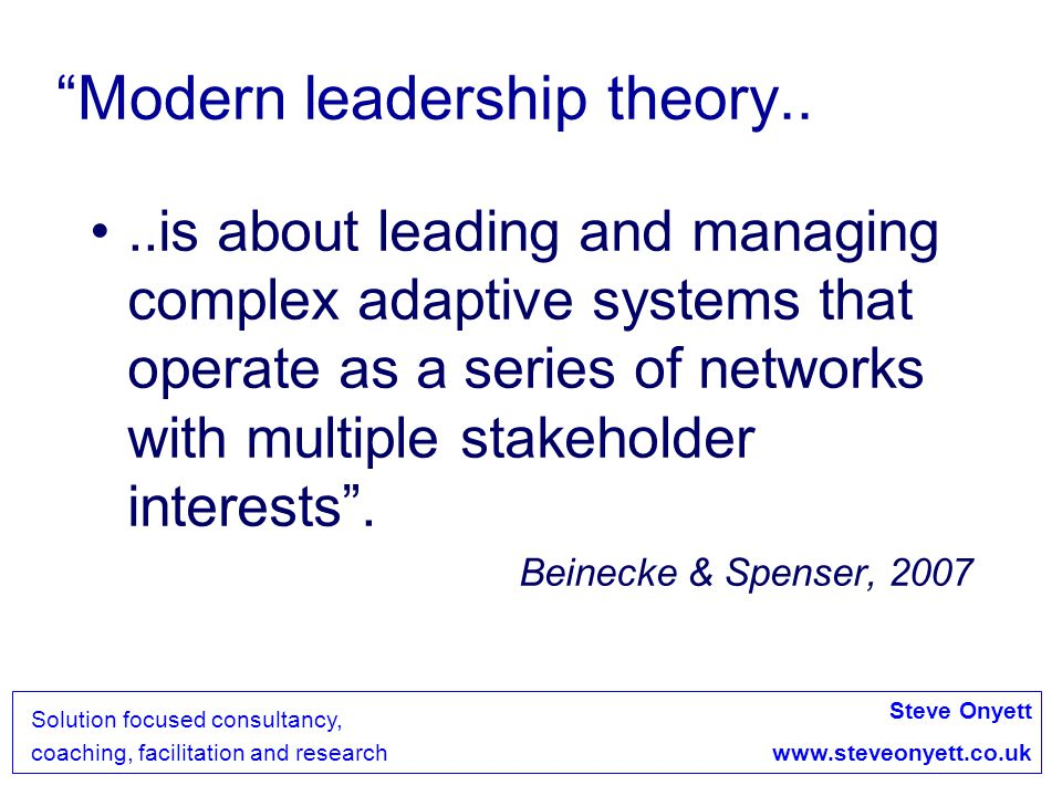 Steve Onyett www.steveonyett.co.uk Solution focused consultancy, coaching, facilitation and research The Power of Appreciation....rests with its self-reinforcing and self- generative capacity Srivastva and Cooperrider, 1999 This requires inclusion, safety in participation and good communication = Effective team working and leadership Teams are where this is modelled and enacted