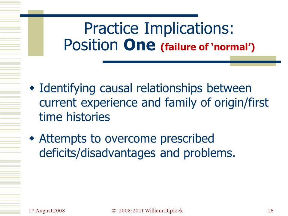 17 August 2008 16 Practice Implications: Position One (failure of normal) Identifying causal relationships between current experience and family of origin/first time histories Attempts to overcome prescribed deficits/disadvantages and problems.