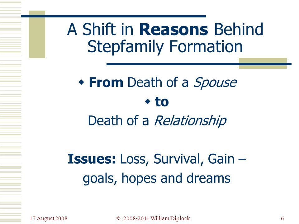 17 August 2008 6 A Shift in Reasons Behind Stepfamily Formation From Death of a Spouse to Death of a Relationship Issues: Loss, Survival, Gain – goals, hopes and dreams © 2008-2011 William Diplock