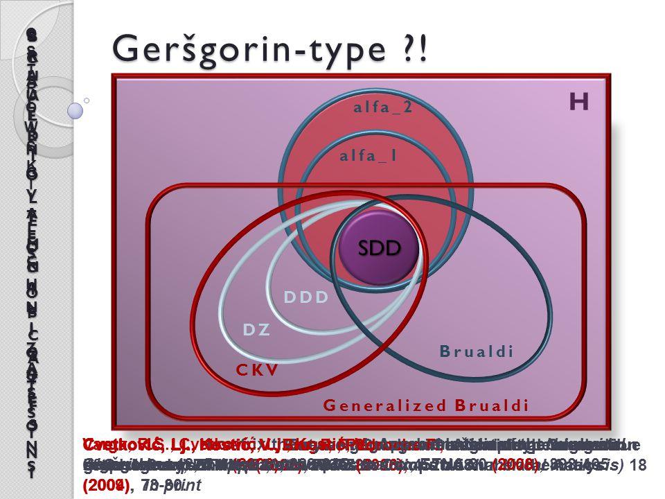 H Geršgorin-type ?! alfa_1 alfa_2 DZ CKV Brualdi SDD Generalized Brualdi Cvetković, Lj., Kostić, V., Varga, R.S., A new Geršgorin-type eigenvalue incl