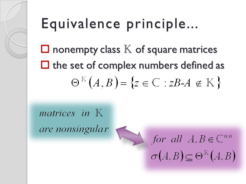 Equivalence principle... nonempty class K of square matrices the set of complex numbers defined as