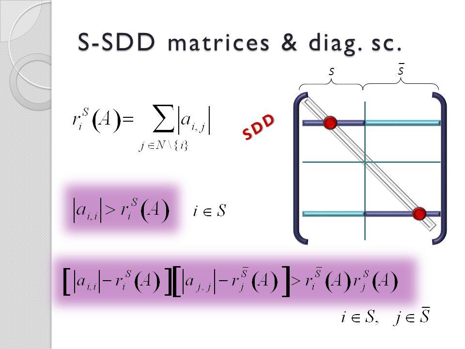 S-SDD matrices & diag. sc. S S _SDD