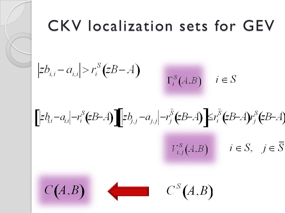 CKV localization sets for GEV