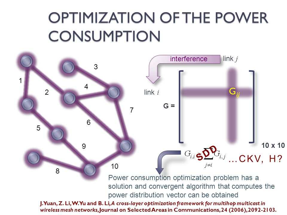 link i link j OPTIMIZATION OF THE POWER CONSUMPTION 2 1 3 4 7 6 5 8 9 10 G ij G = 10 x 10 interference Power consumption optimization problem has a solution and convergent algorithm that computes the power distribution vector can be obtained SDD …CKV, H.
