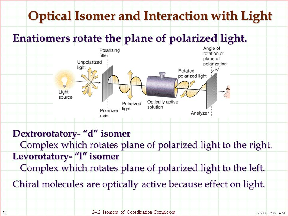 12.2.00 12:06 AM 12 24.2 Isomers of Coordination Complexes Optical Isomer and Interaction with Light Enatiomers rotate the plane of polarized light. D