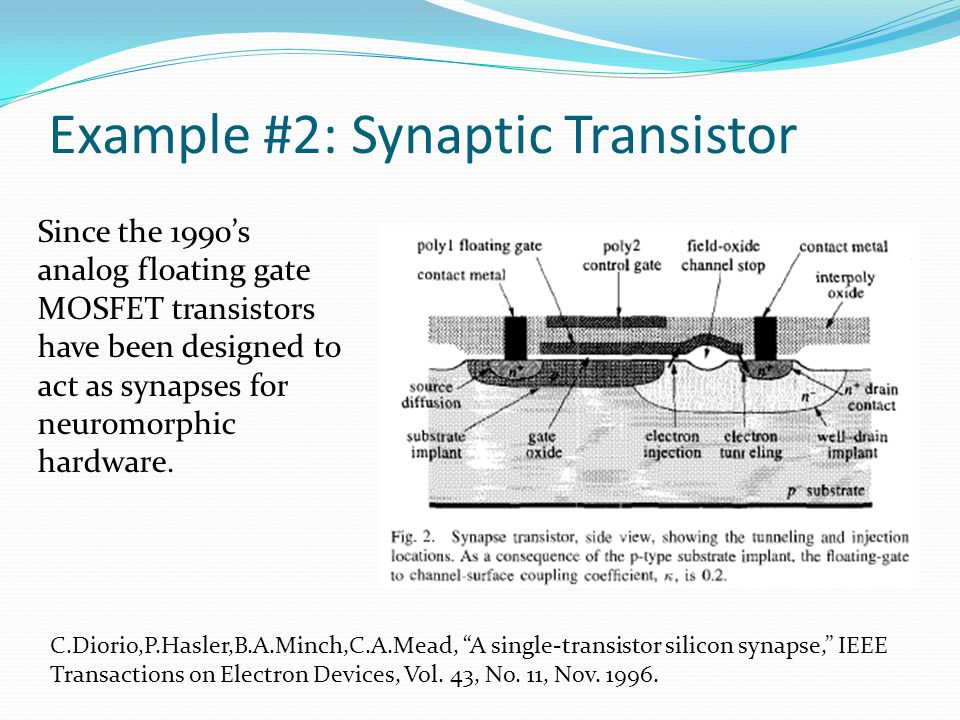 Example #2: Synaptic Transistor C.Diorio,P.Hasler,B.A.Minch,C.A.Mead, A single-transistor silicon synapse, IEEE Transactions on Electron Devices, Vol.