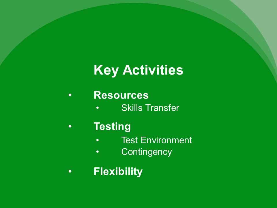 Key Activities Testing Flexibility Skills Transfer Test Environment Contingency Resources