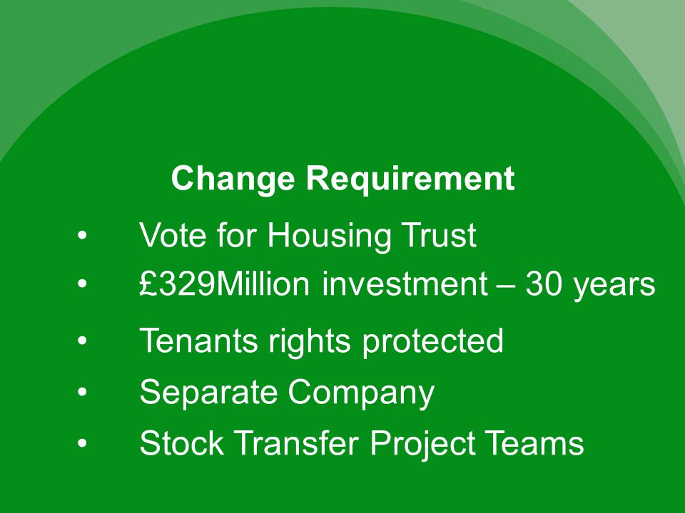Change Requirement Tenants rights protected Separate Company £329Million investment – 30 years Stock Transfer Project Teams Vote for Housing Trust