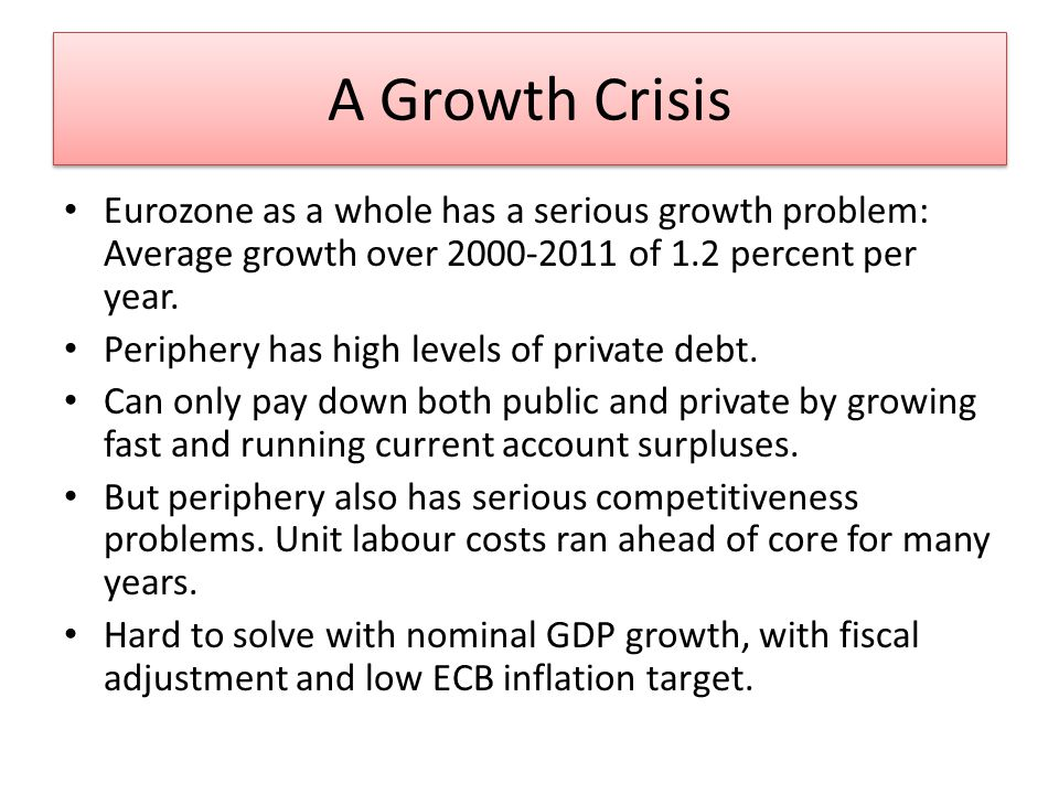 A Growth Crisis Eurozone as a whole has a serious growth problem: Average growth over of 1.2 percent per year.