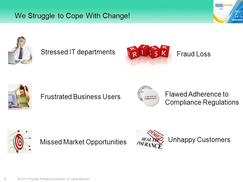 © 2011 Progress Software Corporation. All rights reserved. 5 We Struggle to Cope With Change! Stressed IT departments Frustrated Business Users Missed