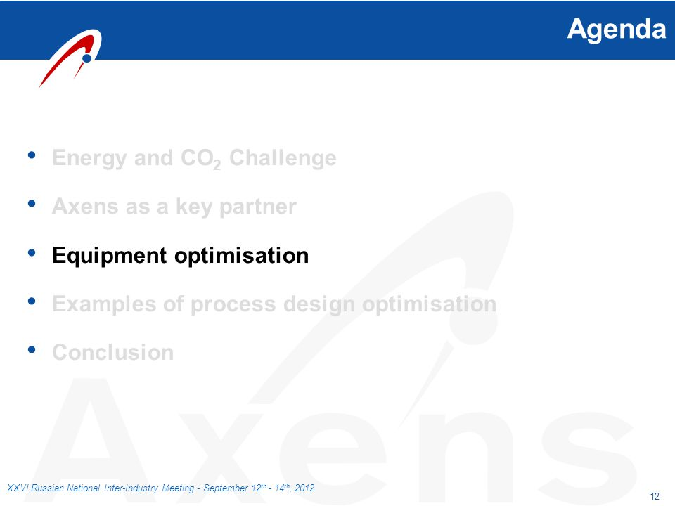 12 XXVI Russian National Inter-Industry Meeting - September 12 th - 14 th, 2012 Agenda Energy and CO 2 Challenge Axens as a key partner Equipment opti