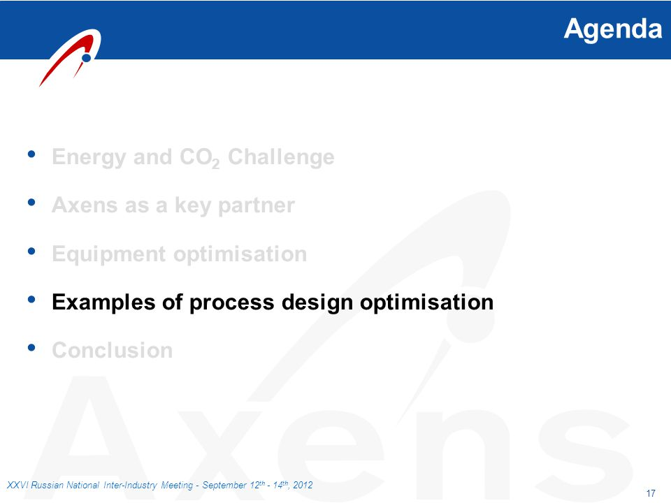 17 XXVI Russian National Inter-Industry Meeting - September 12 th - 14 th, 2012 Agenda Energy and CO 2 Challenge Axens as a key partner Equipment opti