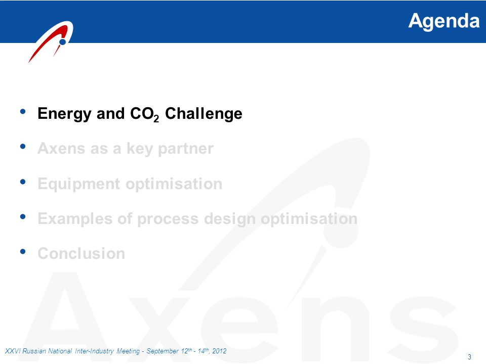 3 XXVI Russian National Inter-Industry Meeting - September 12 th - 14 th, 2012 Agenda Energy and CO 2 Challenge Axens as a key partner Equipment optim