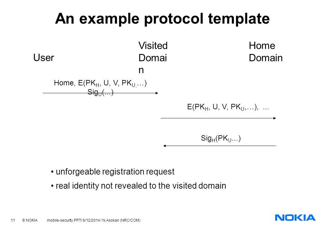 11 © NOKIA mobile-security.PPT/ 6/12/2014 / N.Asokan (NRC/COM) Home, E(PK H, U, V, PK U, …) Sig U (...) An example protocol template User Visited Domai n Home Domain E(PK H, U, V, PK U,…),...
