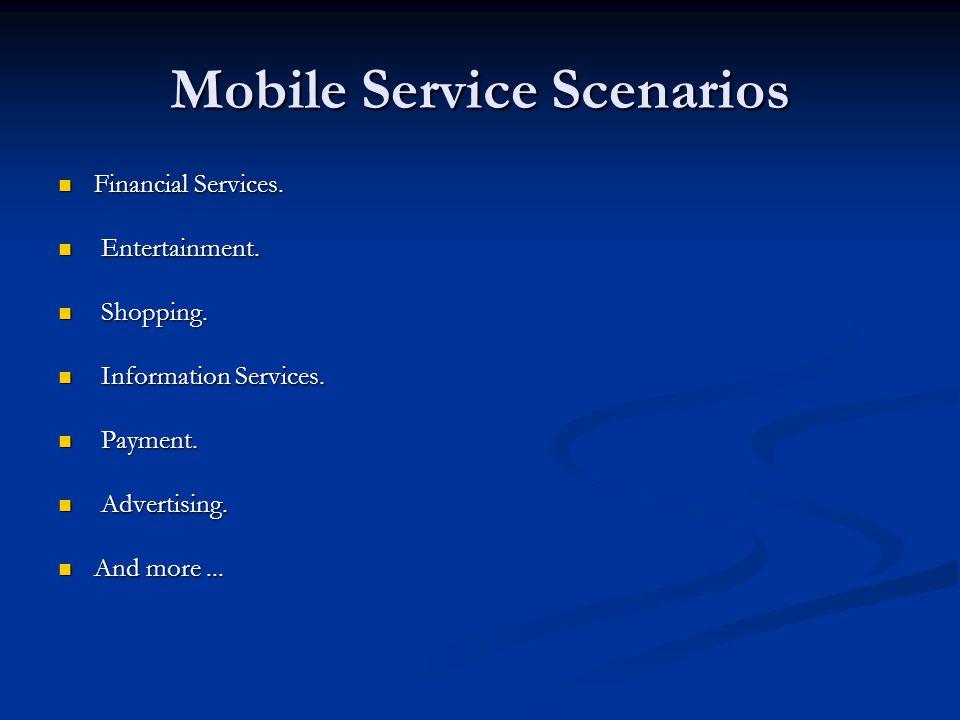 Mobile Service Scenarios Financial Services. Financial Services. Entertainment. Entertainment. Shopping. Shopping. Information Services. Information S