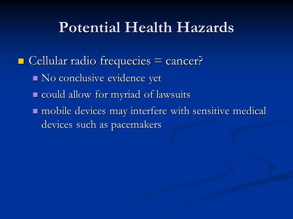 Potential Health Hazards Cellular radio frequecies = cancer? Cellular radio frequecies = cancer? No conclusive evidence yet No conclusive evidence yet