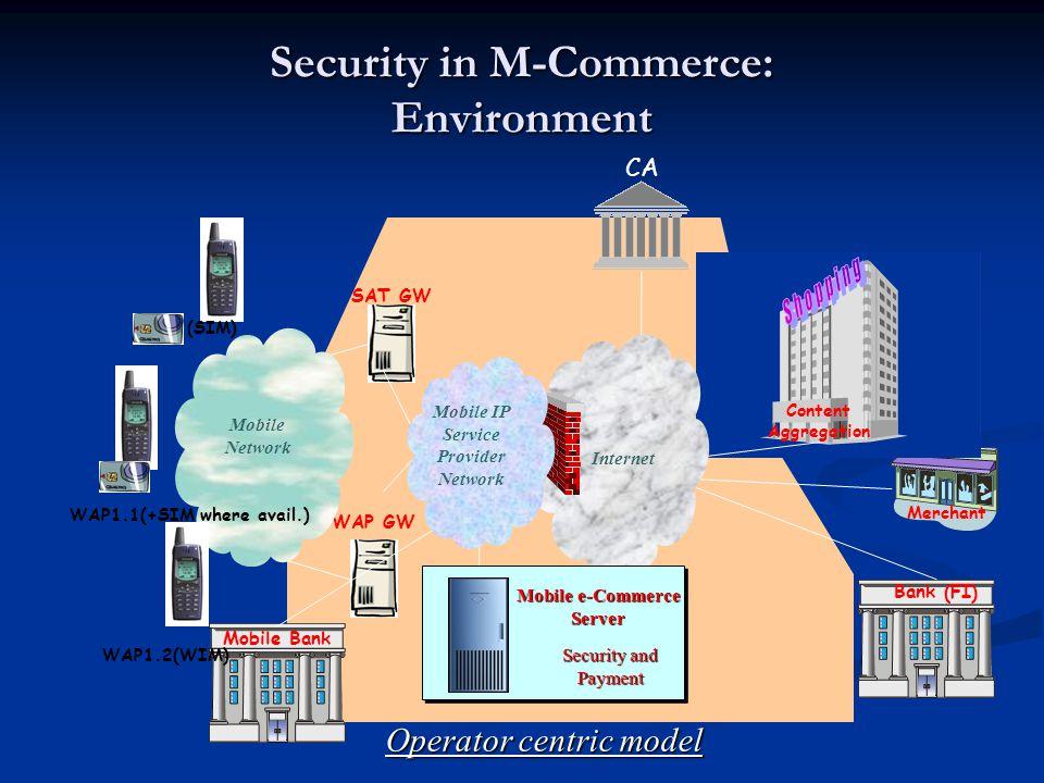 Security in M-Commerce: Environment Operator centric model CA Bank (FI) Merchant Content Aggregation Internet SAT GW WAP GW Mobile Network Mobile Bank