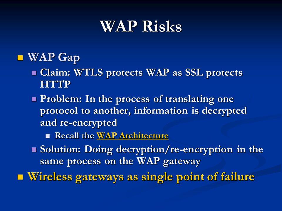 WAP Risks WAP Gap WAP Gap Claim: WTLS protects WAP as SSL protects HTTP Claim: WTLS protects WAP as SSL protects HTTP Problem: In the process of trans