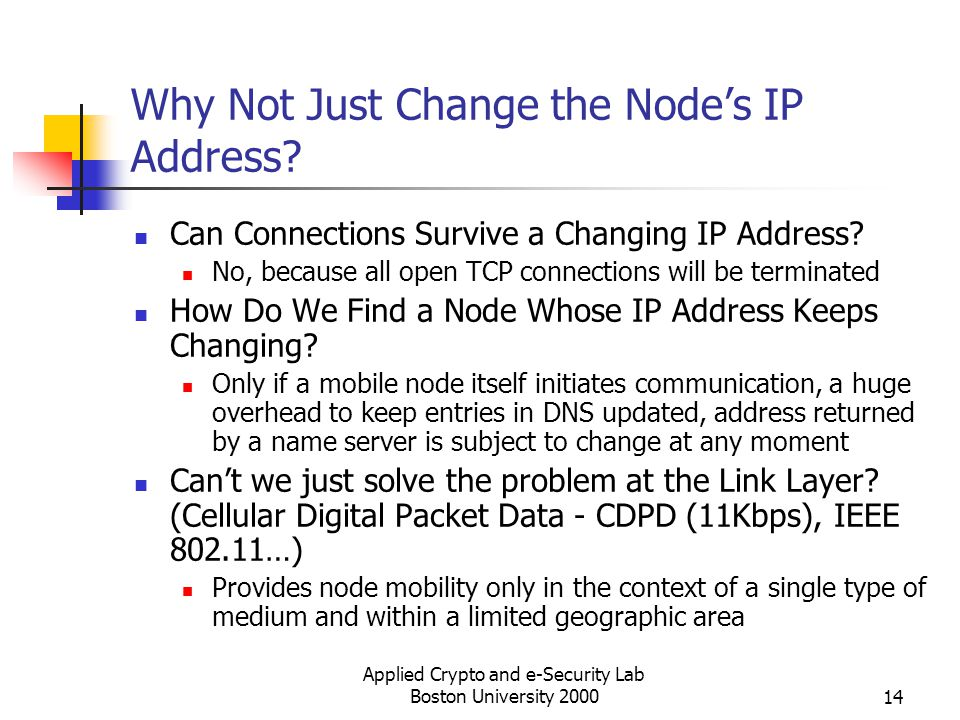Applied Crypto and e-Security Lab Boston University 200014 Why Not Just Change the Nodes IP Address? Can Connections Survive a Changing IP Address? No