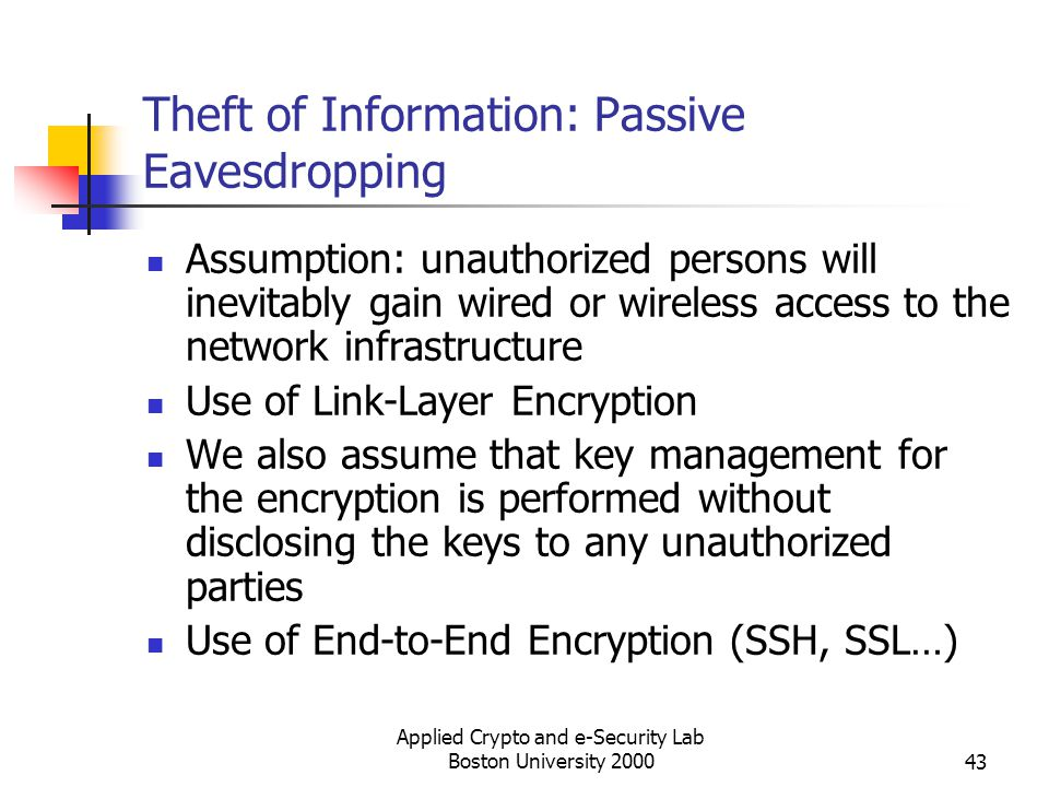 Applied Crypto and e-Security Lab Boston University 200043 Theft of Information: Passive Eavesdropping Assumption: unauthorized persons will inevitabl