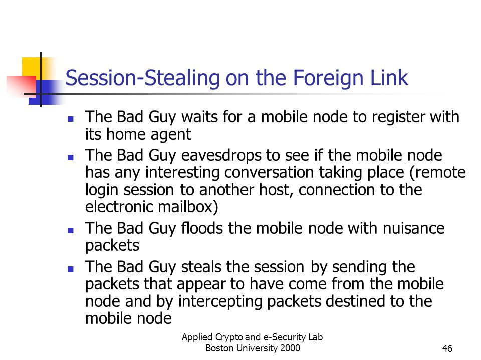 Applied Crypto and e-Security Lab Boston University 200046 Session-Stealing on the Foreign Link The Bad Guy waits for a mobile node to register with i