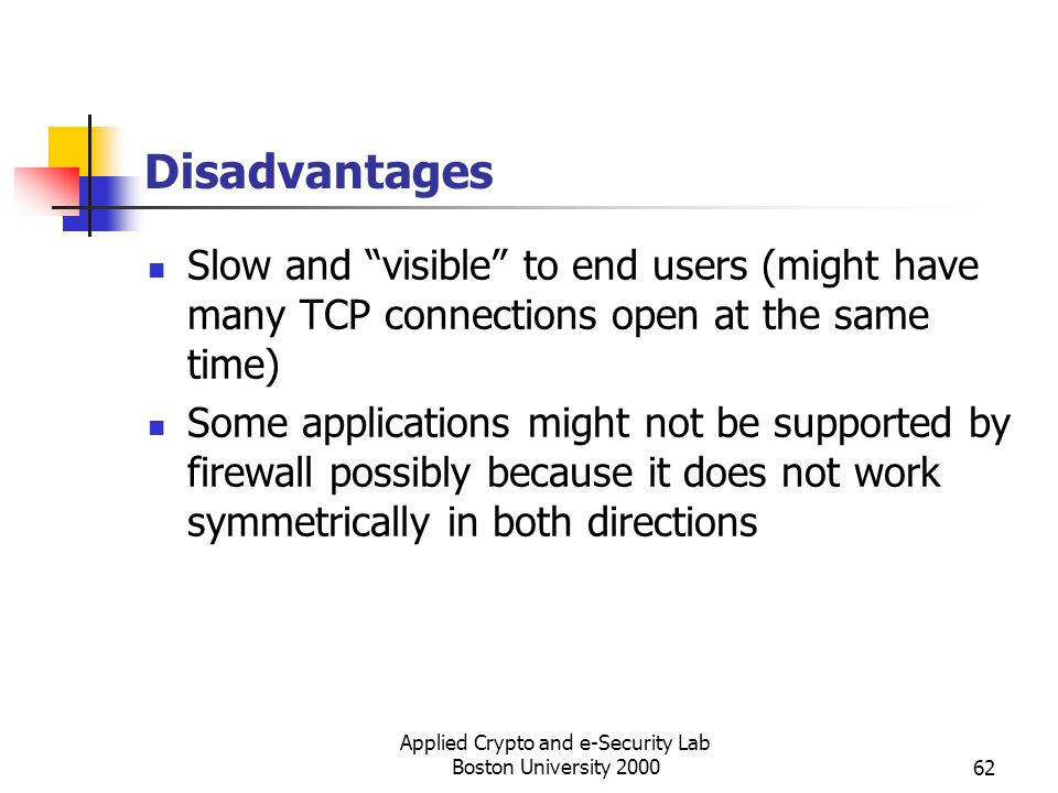 Applied Crypto and e-Security Lab Boston University 200062 Disadvantages Slow and visible to end users (might have many TCP connections open at the sa