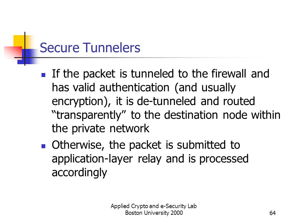 Applied Crypto and e-Security Lab Boston University 200064 Secure Tunnelers If the packet is tunneled to the firewall and has valid authentication (an