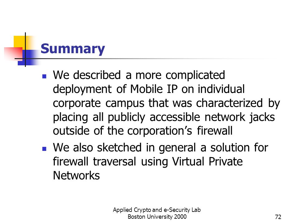 Applied Crypto and e-Security Lab Boston University 200072 Summary We described a more complicated deployment of Mobile IP on individual corporate cam