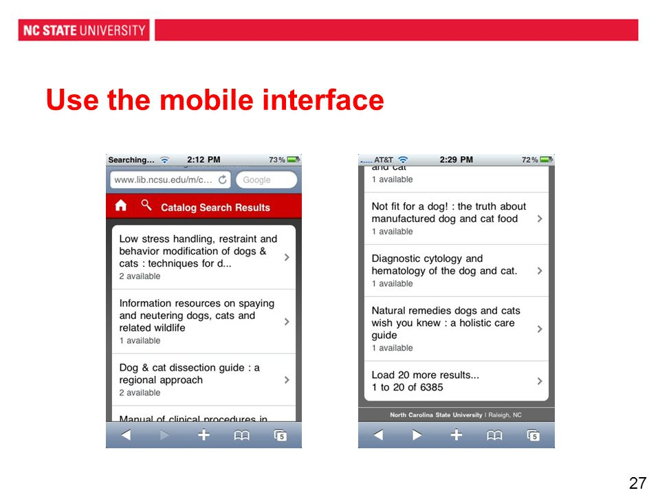Use the mobile interface 27