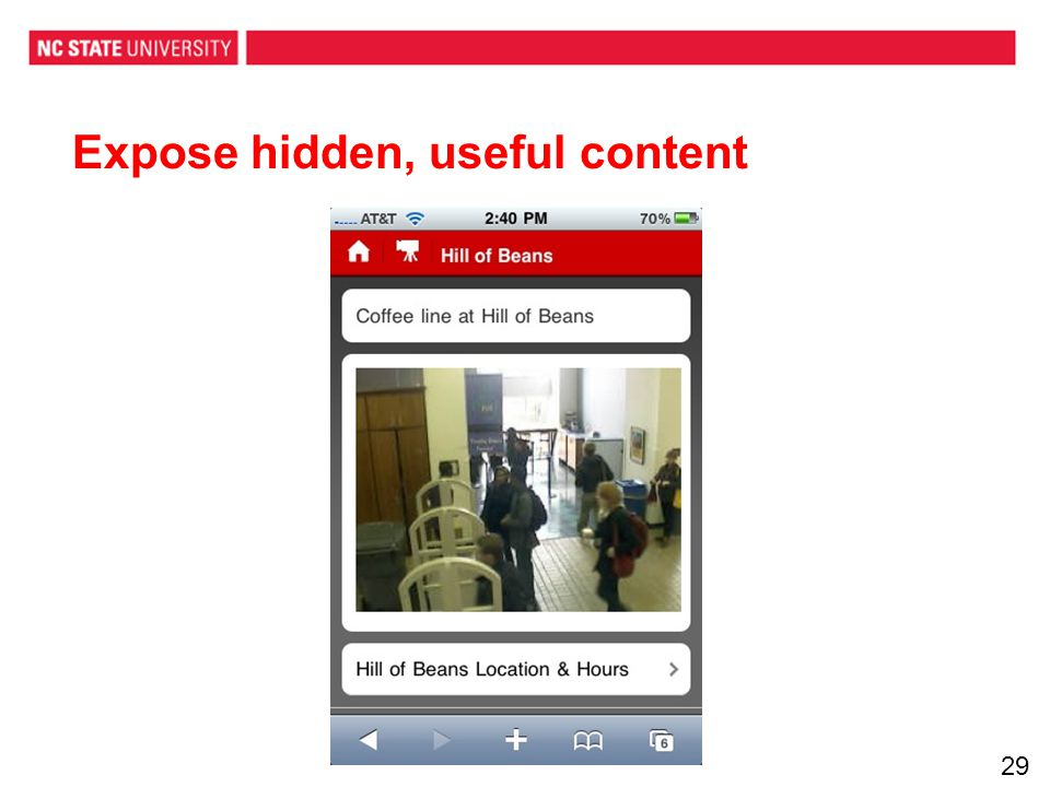 Expose hidden, useful content 29
