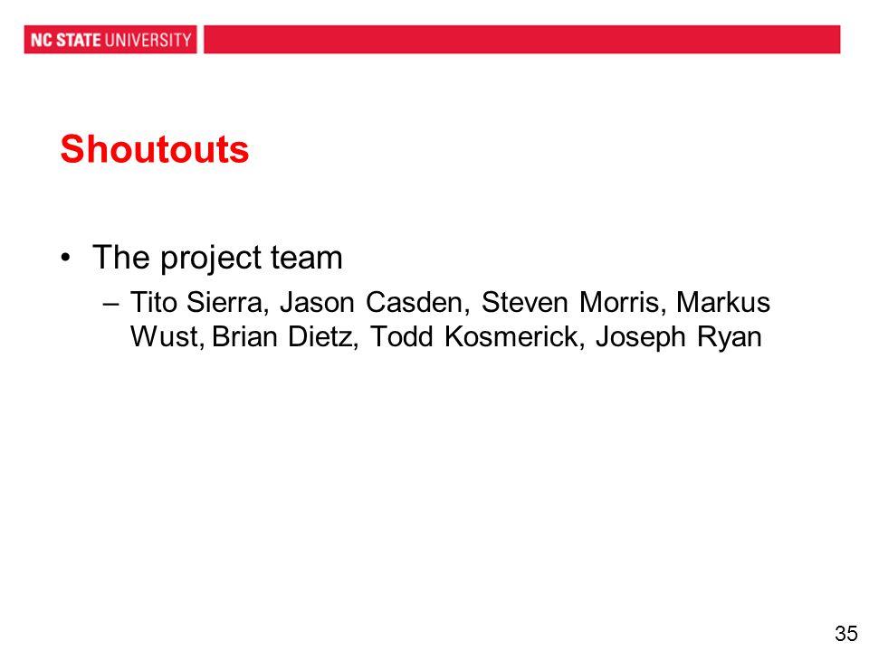 Shoutouts The project team –Tito Sierra, Jason Casden, Steven Morris, Markus Wust, Brian Dietz, Todd Kosmerick, Joseph Ryan 35