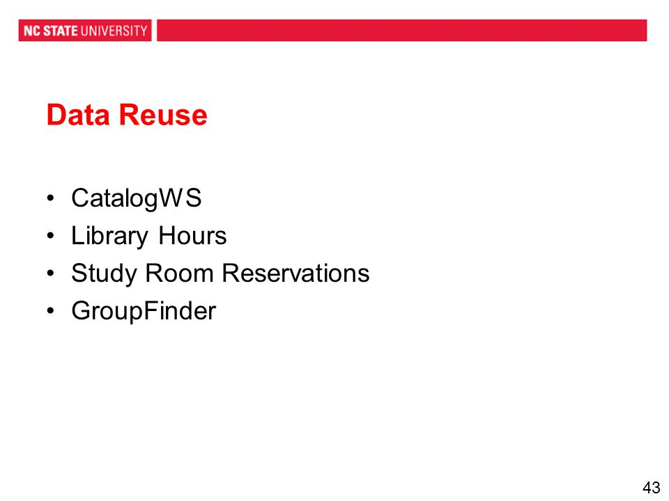 Data Reuse CatalogWS Library Hours Study Room Reservations GroupFinder 43