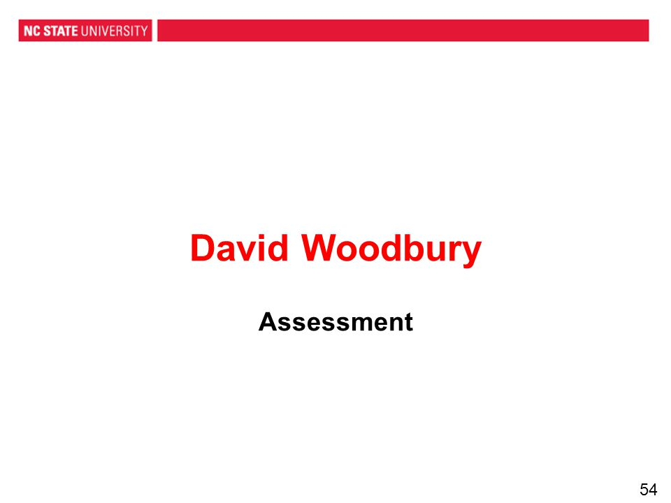 David Woodbury Assessment 54