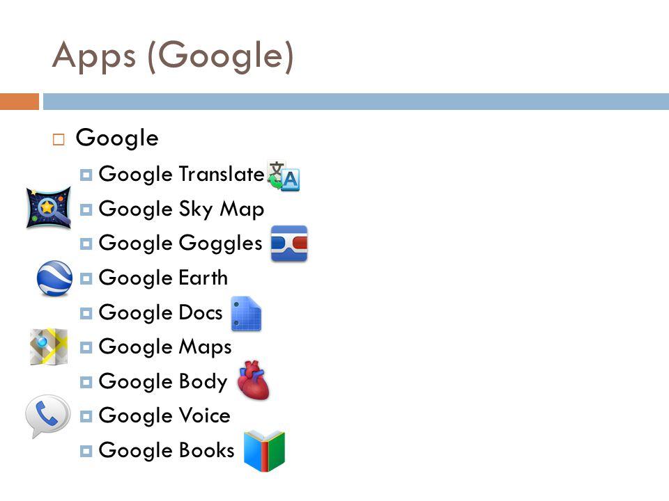 Apps (Google) Google Google Translate Google Sky Map Google Goggles Google Earth Google Docs Google Maps Google Body Google Voice Google Books