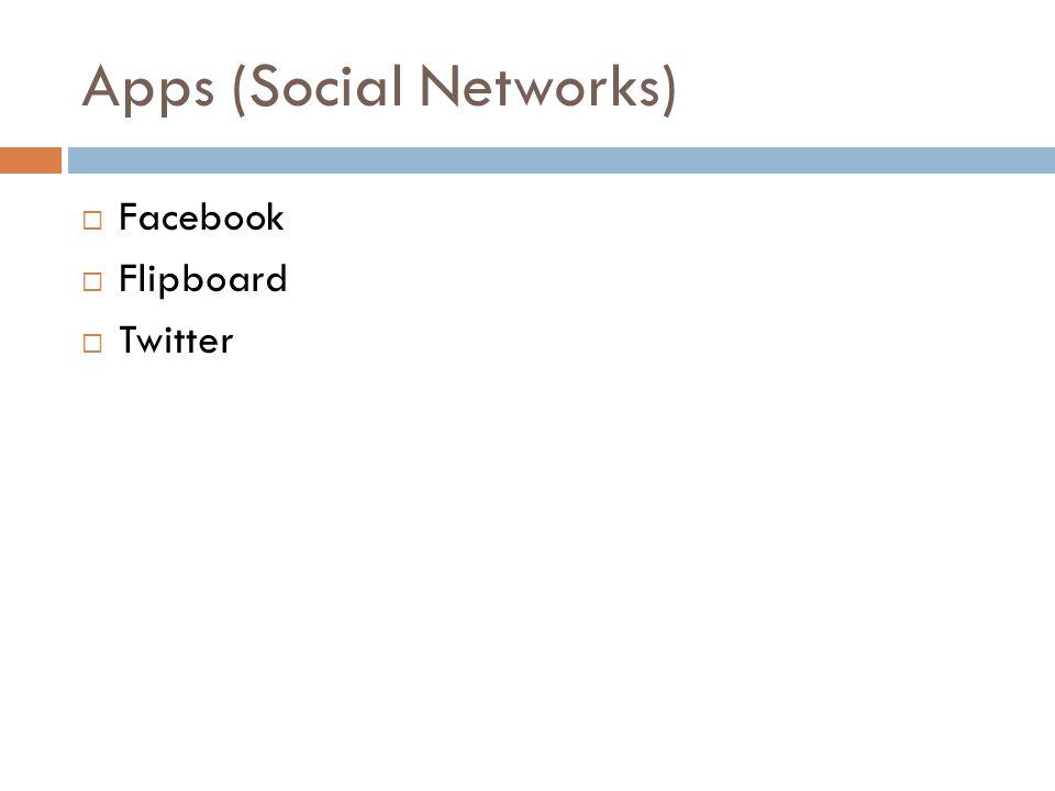 Apps (Social Networks) Facebook Flipboard Twitter