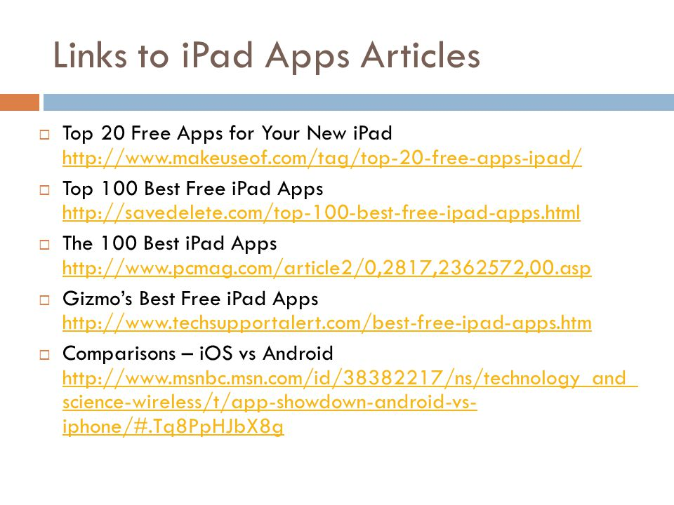Links to iPad Apps Articles Top 20 Free Apps for Your New iPad http://www.makeuseof.com/tag/top-20-free-apps-ipad/ http://www.makeuseof.com/tag/top-20