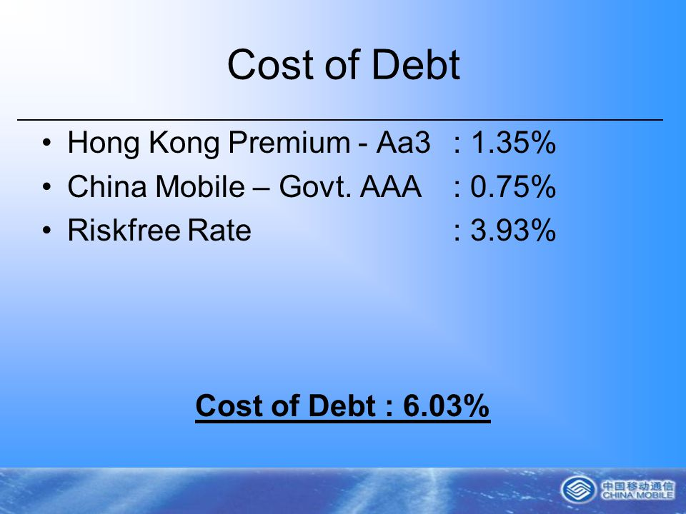 Cost of Debt Hong Kong Premium - Aa3: 1.35% China Mobile – Govt.