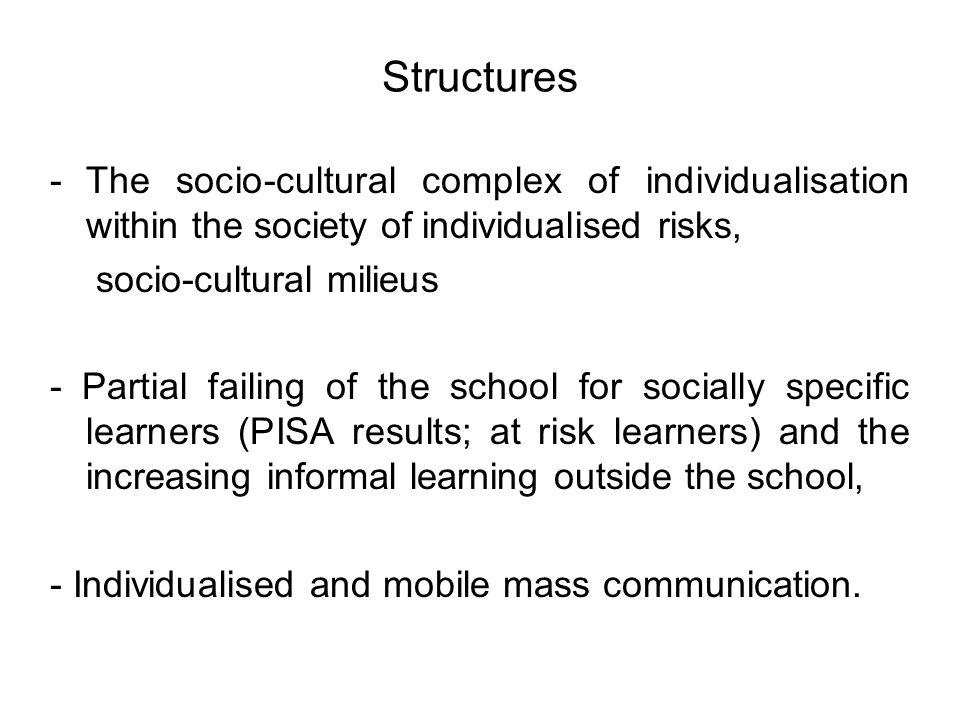 Structures -The socio-cultural complex of individualisation within the society of individualised risks, socio-cultural milieus - Partial failing of th