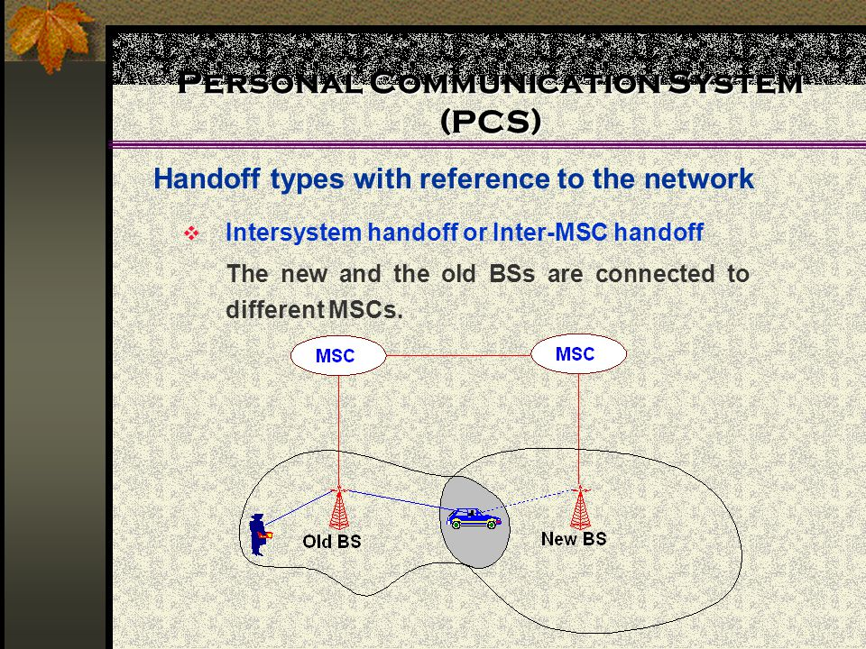 Personal Communication System (PCS) Handoff types with reference to the network Intersystem handoff or Inter-MSC handoff The new and the old BSs are c