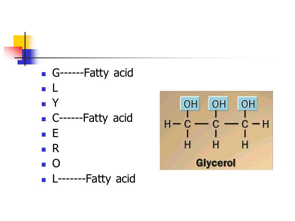 G------Fatty acid L Y C------Fatty acid E R O L-------Fatty acid