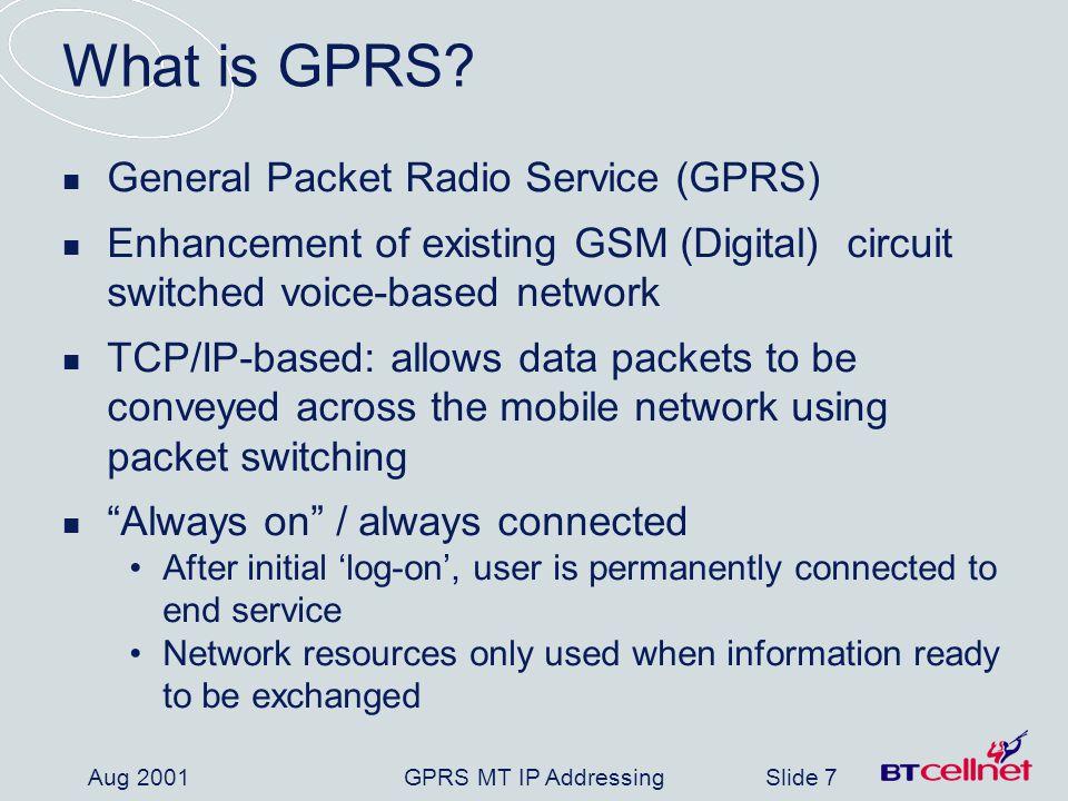 GPRS MT IP AddressingSlide 18 Aug 2001 What are we asking APNIC Members .
