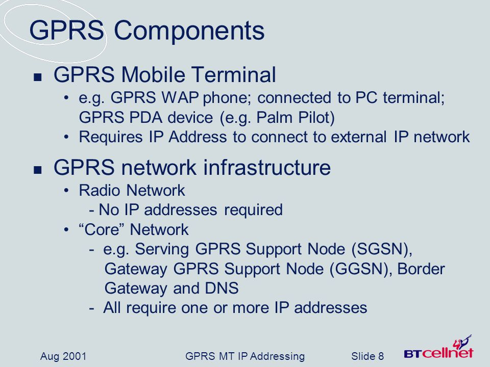 GPRS MT IP AddressingSlide 8 Aug 2001 GPRS Components GPRS Mobile Terminal e.g.