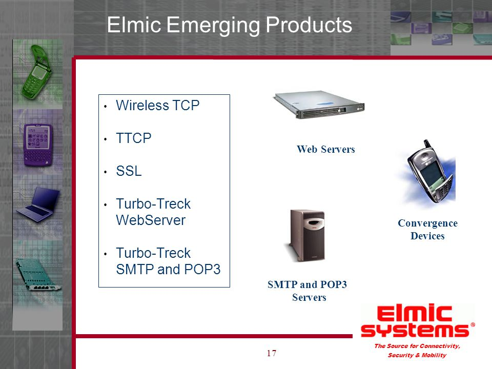 The Source for Connectivity, Security & Mobility 17 Elmic Emerging Products Wireless TCP TTCP SSL Turbo-Treck WebServer Turbo-Treck SMTP and POP3 SMTP and POP3 Servers Web Servers Convergence Devices