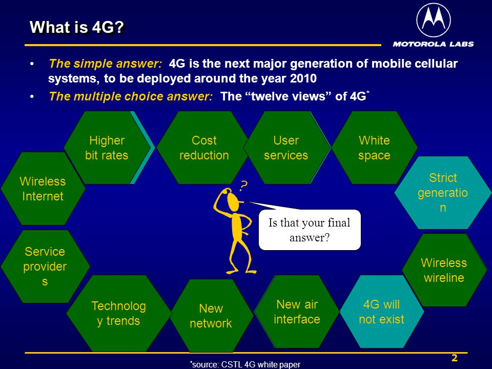 2 What is 4G? The simple answer: 4G is the next major generation of mobile cellular systems, to be deployed around the year 2010 The multiple choice a