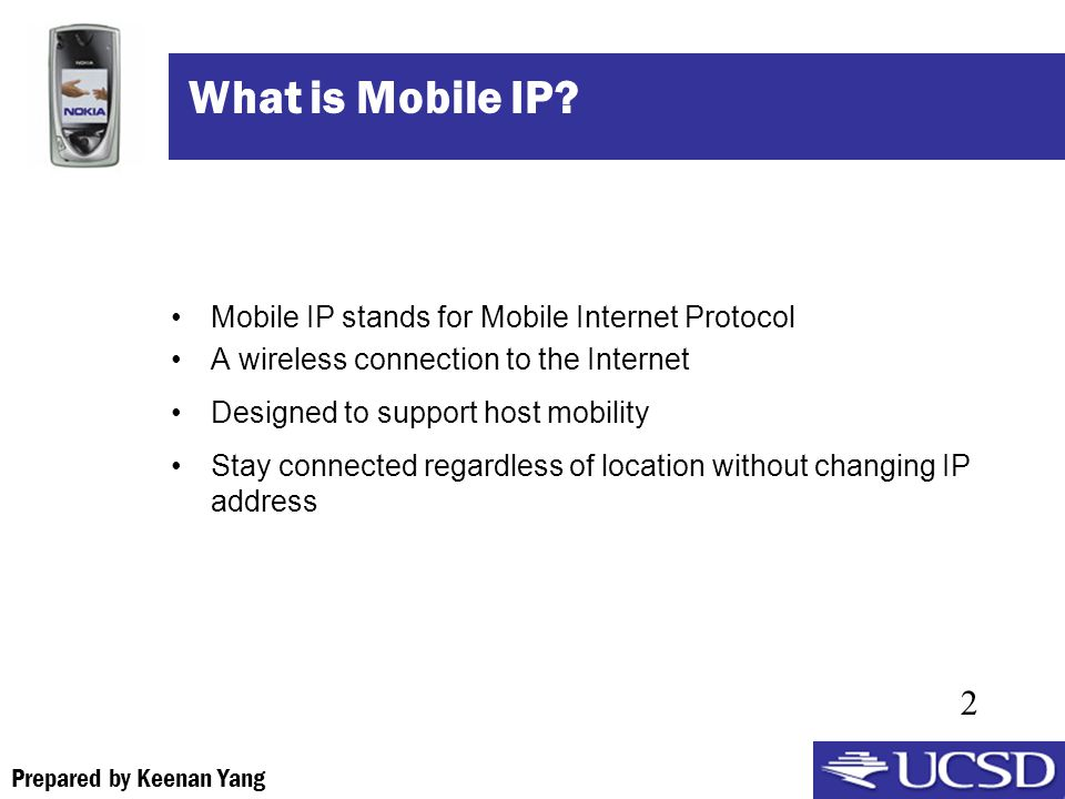 Prepared by Keenan Yang 2 What is Mobile IP.