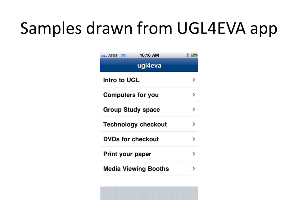 Samples drawn from UGL4EVA app